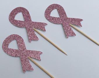 12 Pink Ribbon Cupcake Toppers Glitter Cupcake Toppers Awareness Cupcake Toppers Benefit Cupcake Toppers Pink Cupcake Toppers