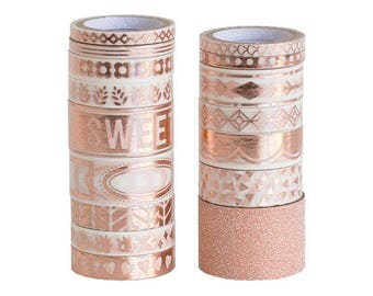 Recollections Rose Gold Large Washi Tapes Tube - 16 Washi Tapes in a Tube - Rose Gold Foil/ Glitter Tape/ Inspiration Word