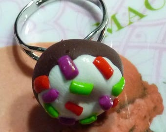 Adjustable silver plated Adjustable ring cake donut with frosting and colorful sprinkles polymer clay