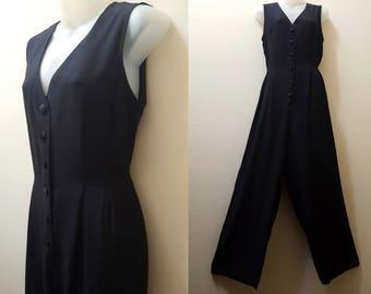 Vintage Jumpsuit / 80s Wide Leg Button Front Tie Back Sleeveless Jumpsuit