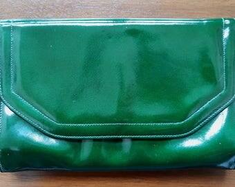 Clarks Vintage 1960's Fashion Match, Ladies Patent Dark Green Leather Purse / Clutch Bag