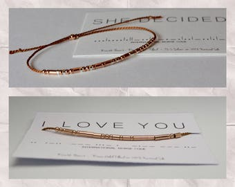 Camel Color String Bracelet / Custom Name Copper Cord Rose Gold Bracelet / Morse Code Bracelet / Summer Color Friendship Best Friend Gift