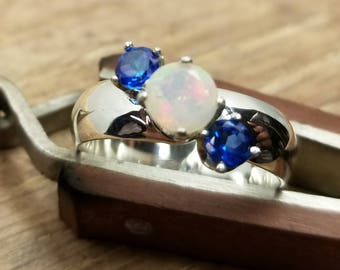 Opal and topaz silver ring size 8.5