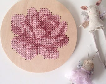 Wooden cross stitch mauve rose