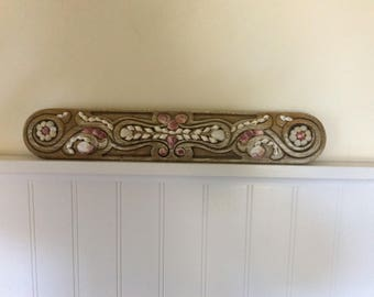Vintage Carved Wood Wall Decor, Upcycled with Shells, Very Large