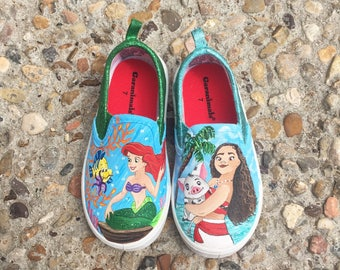 Disney painted Moana and Ariel  Shoes