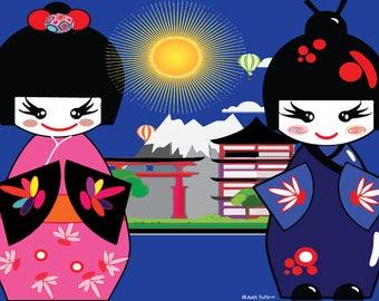 Drawings and Illustrations # Dooe # japan # happiness # wall Art #