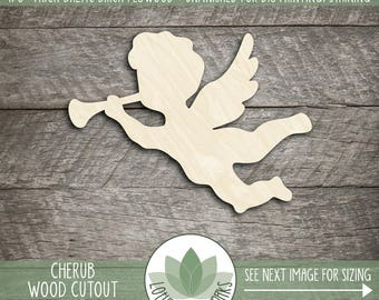 Cherub Wood Cutout, Wooden Cherub Shape, Wood Shapes For DIY Crafting, Cherub With Horn Wood Shape, Wooden Angel