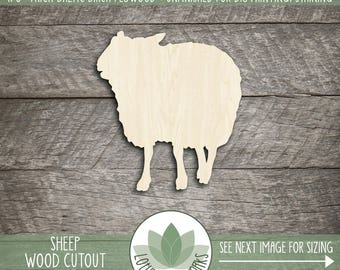 Sheep Wood Cut Shape, Unfinished Wood Sheep Laser Cut Shape, DIY Craft Supply, Many Size Options