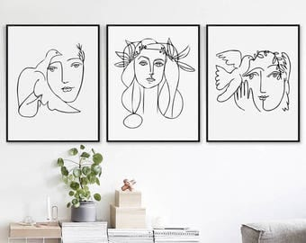 Picasso Head Of A Woman Scandinavian Art 11x14 Print Set Downloadable Art Picasso Sketch Line Drawing Print Picasso Girl Print Poster Set