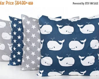 SALE ENDS SOON Navy Pillows, Gray Pillow Covers, Blue Whale Pillow, Blue Nursery Decor, Gray Baby Pillows, Star Pillowcase, Stars, Whales