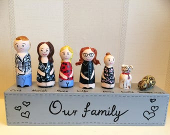 Personalised peg doll family portrait, family portrait, family tree, family keepsake, peg doll family