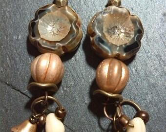 Poetic earrings, boho, retro, Brown glazed and ivory