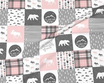 Personalized Baby Girl Blanket-Personalized Minky Baby Blanket-Baby Girl blanket-Woodland Minky Baby Blanket Girl-Bear Moose Deer Nursery