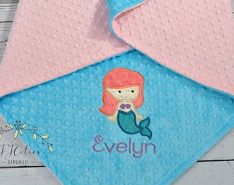 Baby Blanket Personalized Mermaid-Mermaid Baby Minky Blanket-Girl Mermaid Blanket-Personalized Baby Blanket Girl-Mermaid Minky Baby Blanket