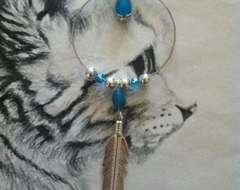 """""""Silver feather"""" pendant with blue beads"""