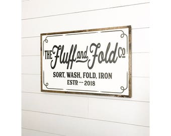 Laundry Room Decor, Fluff And Fold, Laundry Room, Laundry Sign, Wood Sign, Farmhouse Sign, Wall Decor, Laundry Decor, Farmhouse Decor, Sign.