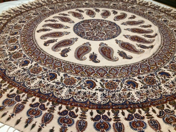 "Calico fabric with Natural dyes  round table-cloth 80"" inches with tassels"