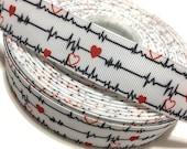 """1"""" Medical Ribbon, Doctor Ribbon, Nurse Ribbon, EKG Ribbon, ECG Ribbon, Heartbeat Ribbon, Medical Grosgrain ribbon, Doctor Grosgrain Ribbon"""