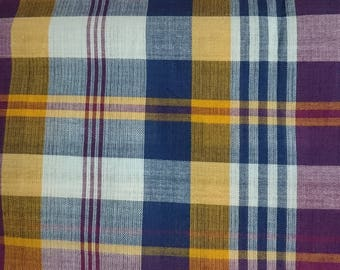 Authentic Handwoven Bleeding Madras Cotton Plaid Fabric by Yard