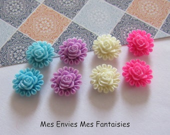 8 cabochons resin flowers 13mm base 8mm approx Mix R17