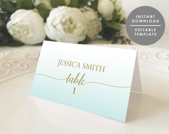 Place Card Template Guest Name Folded Beach Wedding Destination