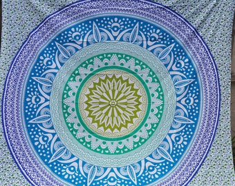 Mandala with elephants tapestry  boho fabric. Colors include yellow, green, blue etc.