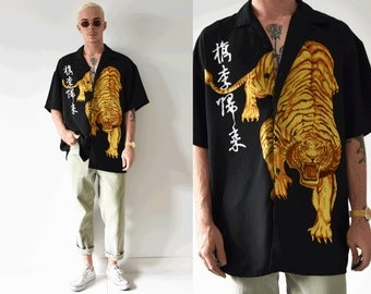 Oriental Gold Tiger Button Up Double Sided Graphic Shirt