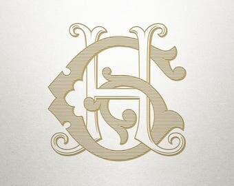 Digital Wedding Monogram - GH HG - Wedding Monogram - Vintage