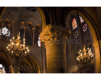 Notre Dame Interior, Wall Art, Fine Art Photography, French Cathedral, French Gothic Architecture, Stained Glass Windows, Paris Chandeliers
