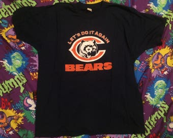 """1980s Chicago Bears football """"Lets do it again"""" shirt Vintage Large on Screen Stars"""
