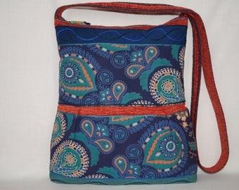 Blue bag, green bag, large crossbody bag, indian bag, gypsy bag, colourful  bag, tote bag, bohemian bag, beach bag, ethnic bag,printed bag