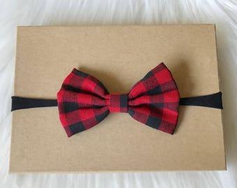 Plaid Bow Headband, Nylon Headband, Plaid Hair Bow, Headband, Baby Headband, Baby Girl Headband, Infant Headband, Headband, Buffalo Plaid