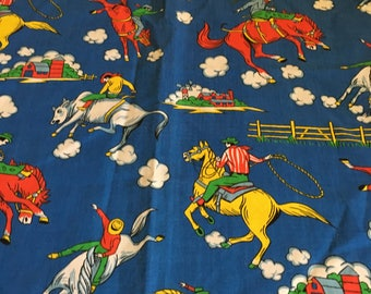 Vintage Blue Fabric Rodeo Cowboy Curtain