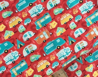 Sale Road Trailer in Red Cotton Fabric from the Road Trip Collection by Riley Blake