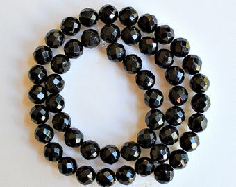 Natural Black Onyx Faceted Round 8mm Loose Beads, Natural Gemstone Beads, Semi precious Gemstone Beads, Onyx Beads, Wholesale Beads