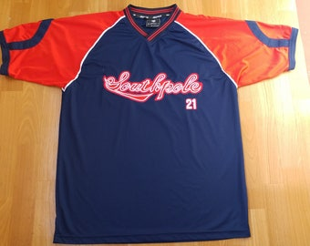 SOUTH POLE jersey, vintage Southpole t-shirt, blue 90s hip-hop clothing, 1990s hip hop, og, gangsta rap, size XL