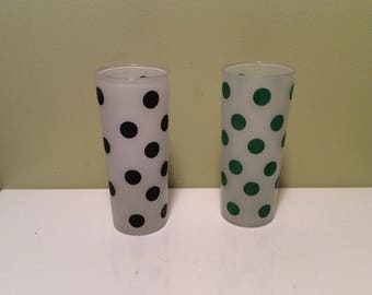 Vintage Hazel Atlas Frosted Glass Green and Black Polka Dot Tumblers Midcentury Retro  Glasses Cups