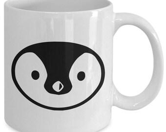 CUTE PENGUIN FACE Mug - Adorable Penguin Lover Gift - Big Image! - 11 oz white coffee tea cup
