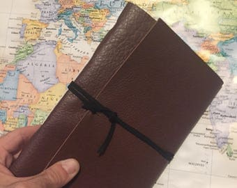 Custom Leather Journal Personalized Text Script Notebook
