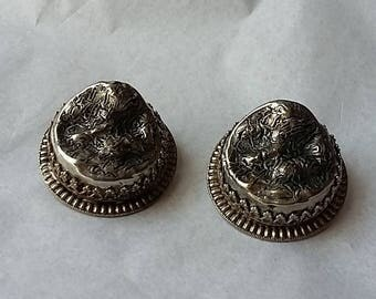 Vintage Freirich Large Silver Metal Clip-on Earrings