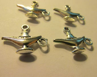 Silver Tone Alladin's Magical Genie Lamp Charms, 20mm, Set of 4