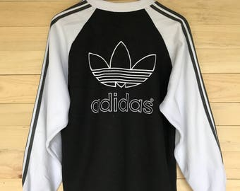 Rare! Vintage Adidas Trefoil Sweatshirt Big Logo Size Large