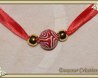 Red Gold Bracelet Gold White Pearl Ribbon 101016