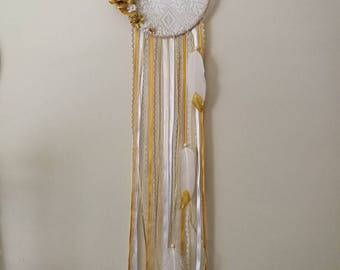 Gold & white floral lace dream catcher