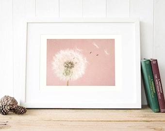 Rustic dandelion art Dandelion wall art Dandelion Print Make a wish dandelion print Dusky pink dandelion wall print Girl dandelion art decor