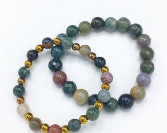 Gold Hematite and Indian Agate Stackable bracelets