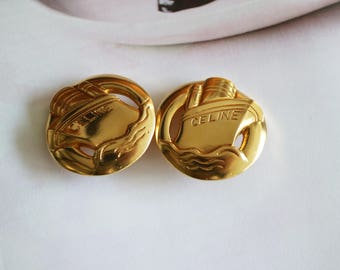 Sold out **** Authentic Vintage CELINE Clip-on Earrings