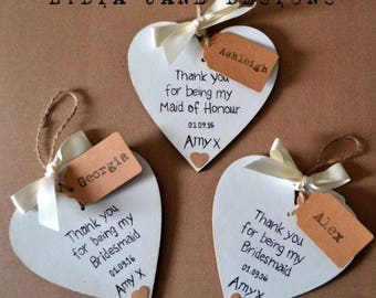 Bridesmaid Gift Heart Vintage Shabby Chic