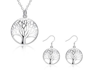 Tree of Life 925 Sterling Silver Plated Necklace & Earrings Jewellery Set Gift Boxed